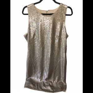 Vince Camuto Gold Sequin Dress size 14 New